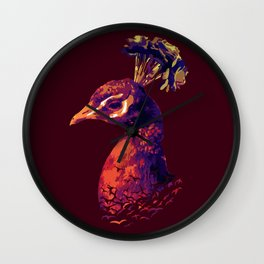 Peacock Sunset Wall Clock