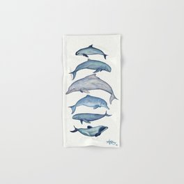 """""""Rare Cetaceans"""" by Amber Marine - Watercolor dolphins and porpoises - (Copyright 2017) Hand & Bath Towel"""