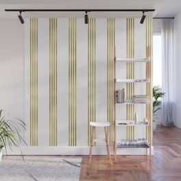Simply luxury Gold small stripes on clear white - vertical pattern Wall Mural