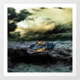 Abandoned Ship on the water portrait Art Print