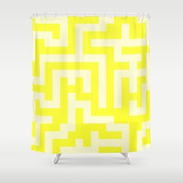 Cream Yellow and Electric Yellow Labyrinth Shower Curtain