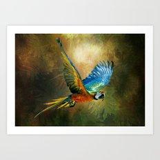 A Flash of Macaw Art Print