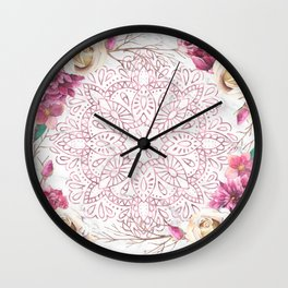 Rose Gold Mandala Garden on Marble Wall Clock