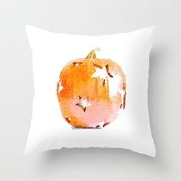 Watercolor Pumpkin with Star Cutouts Throw Pillow
