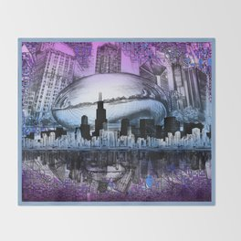 chicago city skyline Throw Blanket