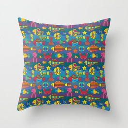 Stylize fantasy fishes under water Throw Pillow