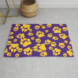 Purple and Gold Tiger Claws Pattern Digital Design Rug