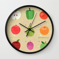 fruit Wall Clocks featuring Fruit by Jessie Ford