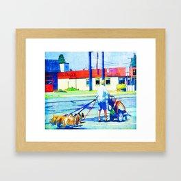 Florence Oregon - Dog Walker Framed Art Print