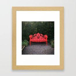Red Bench Framed Art Print