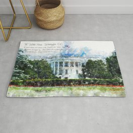 White House, Washington DC, Watercolor Rug