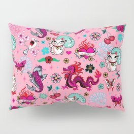 Lucky Cat Maneki Neko , Dragons and Koi fish On Pink Pillow Sham
