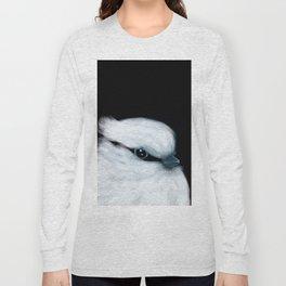 White Bird Black Background #decor #society6 #buyart Long Sleeve T-shirt