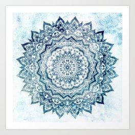 BLUE JEWEL MANDALA Art Print