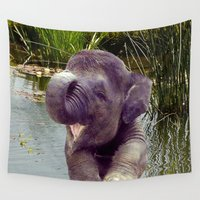 baby elephant Wall Tapestries featuring Baby Elephant by Erika Kaisersot
