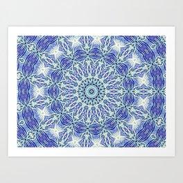 Purple Butterfly Mandala Kaleidoscope A105A Art Print