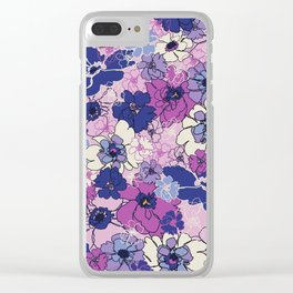 Red Violet and Navy Anemones Clear iPhone Case