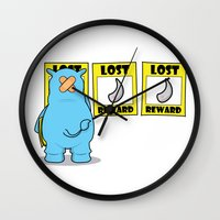 rhino Wall Clocks featuring rhino by chee weng