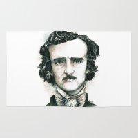 edgar allan poe Area & Throw Rugs featuring Edgar Allan Poe and Ravens by Stephane Lauzon
