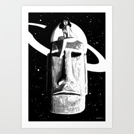 Intergalactic Moai Pin Up Art Print
