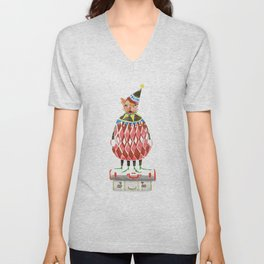 Cat In A Hat On A Suitcase Stack Unisex V-Neck