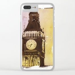 Watercolor painting of Big Ben rising above buildings near Trafalgar Square at dawn- London, England Clear iPhone Case