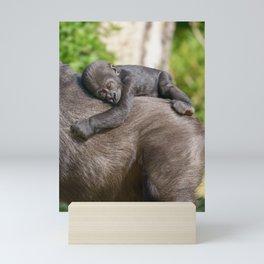 Gorilla Baby Riding On Mum's Back Mini Art Print
