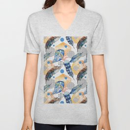 Geometrical blue yellow watercolor bohemian feathers Unisex V-Neck
