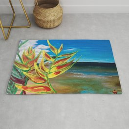 Heliconia Tropical Parrot Plant Take Me There Rug