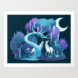Moonlit Unicorns Art Print