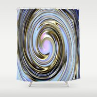 the wire Shower Curtains featuring Wire spiral by Hannah