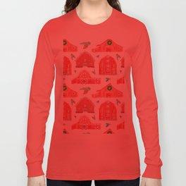 Watercolor Snowy Red Holiday Barns Long Sleeve T-shirt