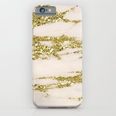Marble - Gold Marble Glittery Light Pink and Yellow Gold iPhone 6s Slim Case