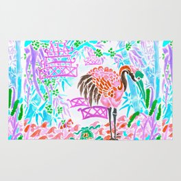 Asian Bamboo Garden in Cherry Blossom Watercolor Rug