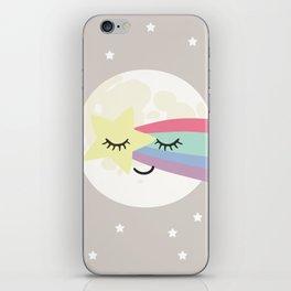 Moon art print, shooting star art print, girls wall art, grey nursery, kids wall art, rainbow art iPhone Skin