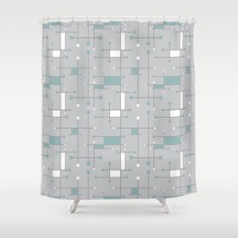 Intersecting Lines in Gray, Sea Foam and White Shower Curtain