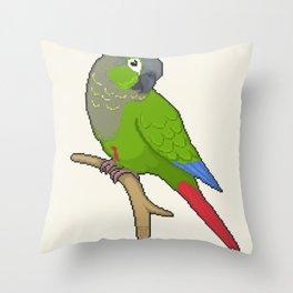 Pixel / 8-bit Parrot: Green-cheek Conure Throw Pillow