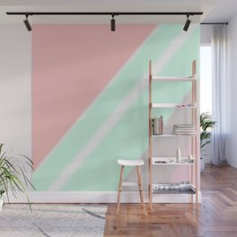 Abstract geometrical mint green coral pink stripes Wall Mural