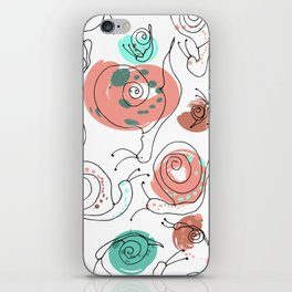 Snail Doodle in White iPhone Skin