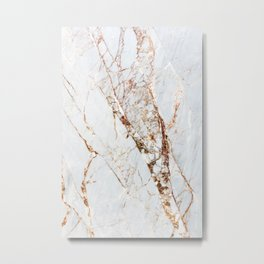 Gold Grey and White Sparkle Marble Metal Print