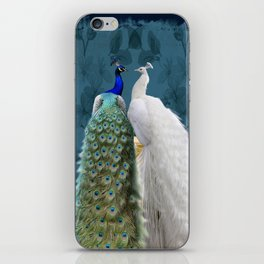 White Peacock and Blue Peacock Bird A732 iPhone Skin