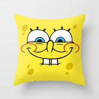 spongebob Throw Pillows featuring Spongebob Naughty Face by Cute Cute Cute