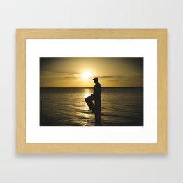 Beam Silhouette Sunset  Framed Art Print