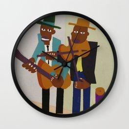 African American Masterpiece 'Harlem Street Musicians' by William Johnson Wall Clock