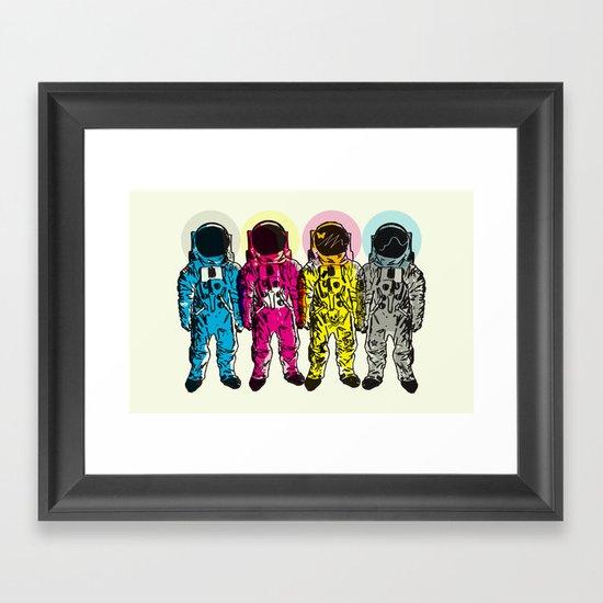 CMYK Spacemen Framed Art Print