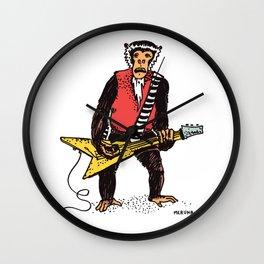 Guitarist Monkey Rocker Funny Animal Monkey Drawing Guitar Player Wall Clock