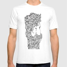 Bearded Man White Mens Fitted Tee MEDIUM