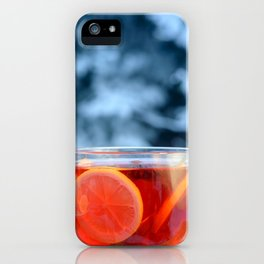Hot fruit tea with lemon rings on a winter day. iPhone Case