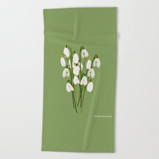 Bouquet Of Snowdrops Beach Towel