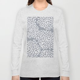 Grey and White Abstract Firework Flowers Long Sleeve T-shirt